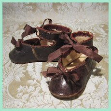 Antique Bronze Kid Bebe Shoes - Size 4 - Marked CM