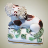 Miniature Staffordshire Style Reclining Dog For Display with Antique Dolls or Doll Houses