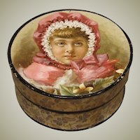 Round Antique Box With Chromo Decoration on Lid