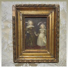 Antique Miniature Watercolor by M.A. Langdale - Late 1800's - For Doll House or Doll Display