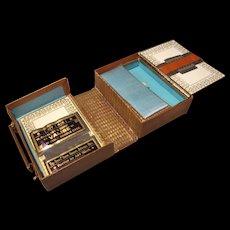 Antique Folding Sewing Kit - Suitcase Form.