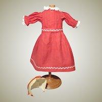 Antique Red Cotton Simple Child Doll Dress with Bonnet