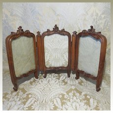 French Carved 3-Panel Screen for Doll Display - Miniature Antique