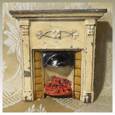 Doll House Fireplace - Antique - Cast Metal