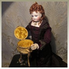 Gilt Bronze French Coffret for Fashion Doll - Silk Upholstered Interior