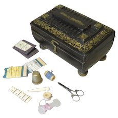 Fine 19th Century Miniature Sewing Necessaire - Child or Doll Size