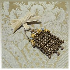 Brass Mesh Purse W/ Applied Flowers for French Fashion Doll