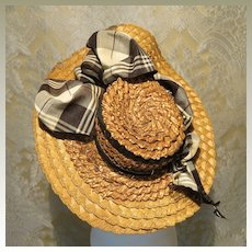 Elegant Antique Straw French Bebe Bonnet