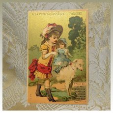 French Advertising Card With Girl and Her Doll