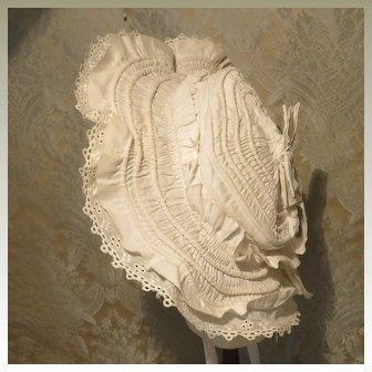 White Cotton Corded Bonnet for Larger French bebe