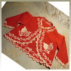 Antique Red Wool Jacket With Embroidery