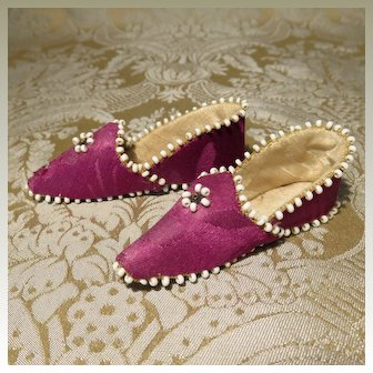 Raspberry Silk Slippers - Antique and Delicious!