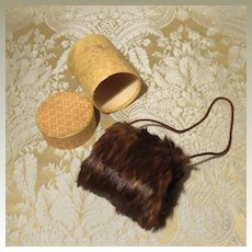 Brown Fur Muff W/ Box for French Fashion