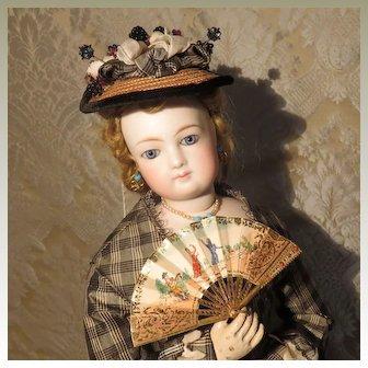 Enticing Gilt Brass Fan for French Fashion Doll