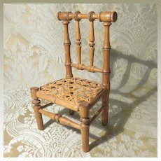 Tiny Faux Bamboo French Caned Chair