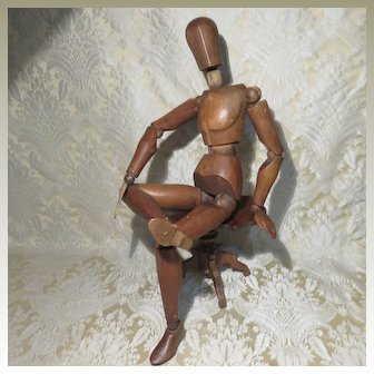 Artist Mannequin - Wooden Full Jointed - Antique