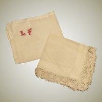 Pair of Antique Doll Handkerchiefs