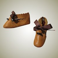 Caramel Kid Slippers for Antique Doll