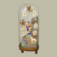 Victorian Domed Whimsey With Shepherdess and Sheep