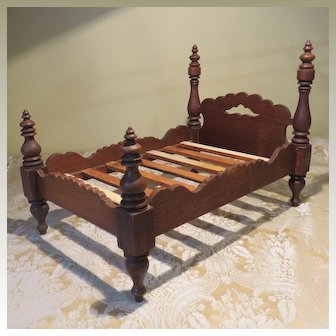 Folky Walnut Doll Bed - American - For Izannah Walker or Other Early Dolls