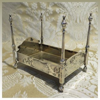 Antique Dollhouse Bed in Sterling Silver by Redlich