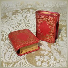 Pair of Miniature Leather Bound Books - Matchboxes