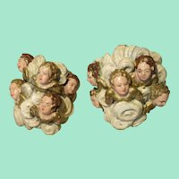 Pair of Neapolitan Creche Putti/Angel Head Groupings - Antique