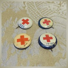 Set of Four Tiny Red Cross Pinback Buttons - 1919 - 1920