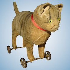 Splendid Steiff Cat on Wheels - Early