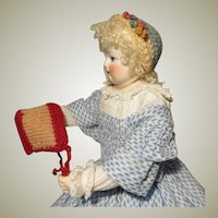 Pair of Small Knit Bonnets - Vintage French