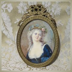 Antique Miniature Portrait of a Beautiful Young Woman in Bronze Frame