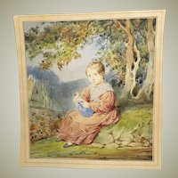 Delightful 1840s Watercolor Painting of Girl with Her Doll