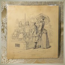 Set of 3 Original Doll Book Illustrations - Pen and Ink - Circa 1880s
