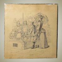 Set of 3 Original Doll Book Illustrations - Pen and Ink - Circa 1880s
