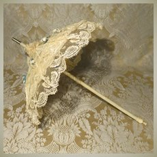 Posh Antique Silk and Lace Parasol for French Bebe