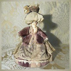 "5"" Grodnertal Wood Doll in Original Clothing - Fanciful Hat"