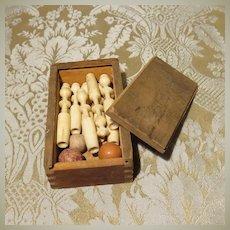 Miniature Boxed Game of Jeu d' Quilles - Antique