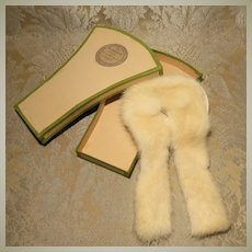 Vintage Artisan-made Ermine Stole in Shaped Box for French Fashion