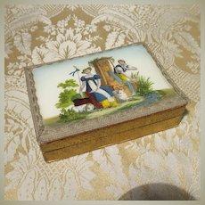 Regency Period Reverse Painted Trinket Box