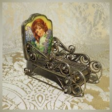 Fancy Silver and Porcelain Sleigh for Doll Display - Vintage