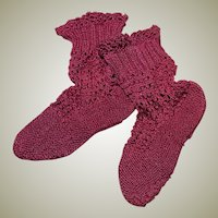 Burgundy Knit Stockings for a Larger Bebe