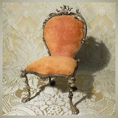 Small Salon Chair With Silver Plated Frame - Doll Display