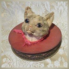 Cat's Head Candy Box - German, Circa 1900