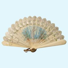 Elegant Painted Miniature Brise Fan for Larger French Doll