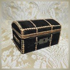 Antique Miniature Velvet Trunk - Upholstered Interior - French