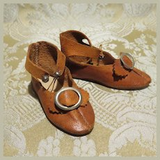 Size 6 Caramel Leather Antique Doll Shoes