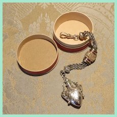 Splendid Sterling Silver Chatelaine Scent Bottle for French Fashion