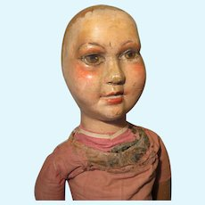 Carved Wood Character Folk Art Doll - Antique
