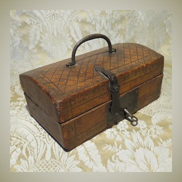 Petite French Antique Leather Covered Box/Trunk