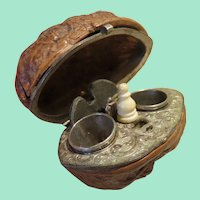 Antique Walnut Shell Etui With Sewing Tools
